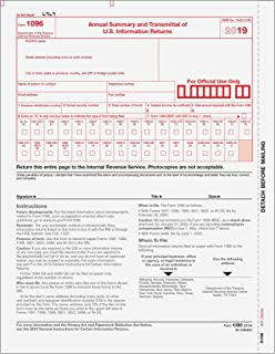 2020 IRS Regulated 1096 Tax Forms (Package of 5 Forms)