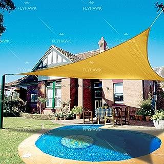 FLY HAWK SunShadeSailTriangle, 16'x16'x16' Patio Sunshade Cover Canopy - Durable FabricCloth for Outdoor Garden Backyard Pond Pergola Carport Driveway - Sand Color