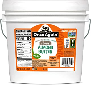 Once Again Natural Creamy Almond Butter, 9lbs - Lightly Toasted - Salt Free, Unsweetened - Gluten Free Certified, Peanut F...