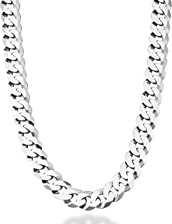 Solid 925 Sterling Silver Italian 12mm Solid Diamond-Cut Cuban Link Curb Chain Necklace for Men, 18, 20, 22, 24, 26, 28 Inch Made in Italy