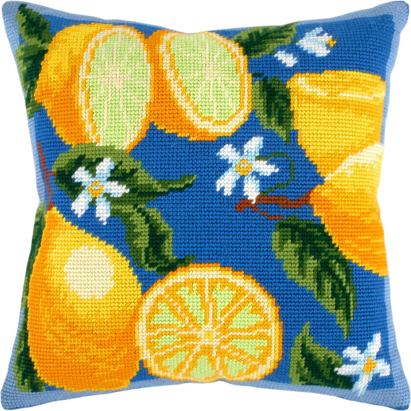 Polar Bears Needlepoint Kit Printed Tapestry Canvas Blue Cushion Back Included Throw Pillow 16/×16 Inches European Quality