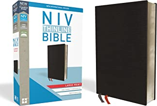 NIV, Thinline Bible, Large Print, Bonded Leather, Black, Red Letter Edition, Comfort Print