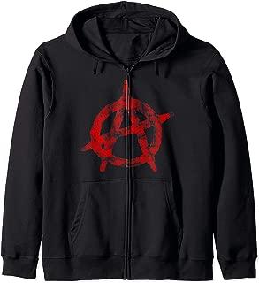 Anarchist Symbol Distressed Political Anarchy Rock Star Gift Zip Hoodie