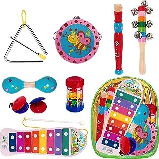THE TWIDDLERS 10 Juguetes Instrumentos Musicales - Xilófono Madera Set Panderetas Y Percusión Bandas Músicos - Juguetes educativos de Interior Ideales para niños para Horas de diversión y Aprendizaje