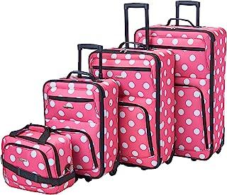 Rockland Polka Softside Upright Luggage Set