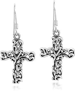 Detailed Filigree Swirl Cross .925 Sterling Silver Dangle Earrings