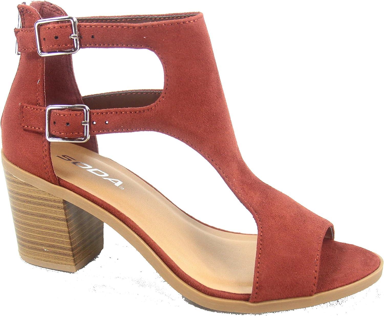Soda Allure-s Women's Fashion Double Buckles Chunky Heel Open Toe Bootie Sandal shoes