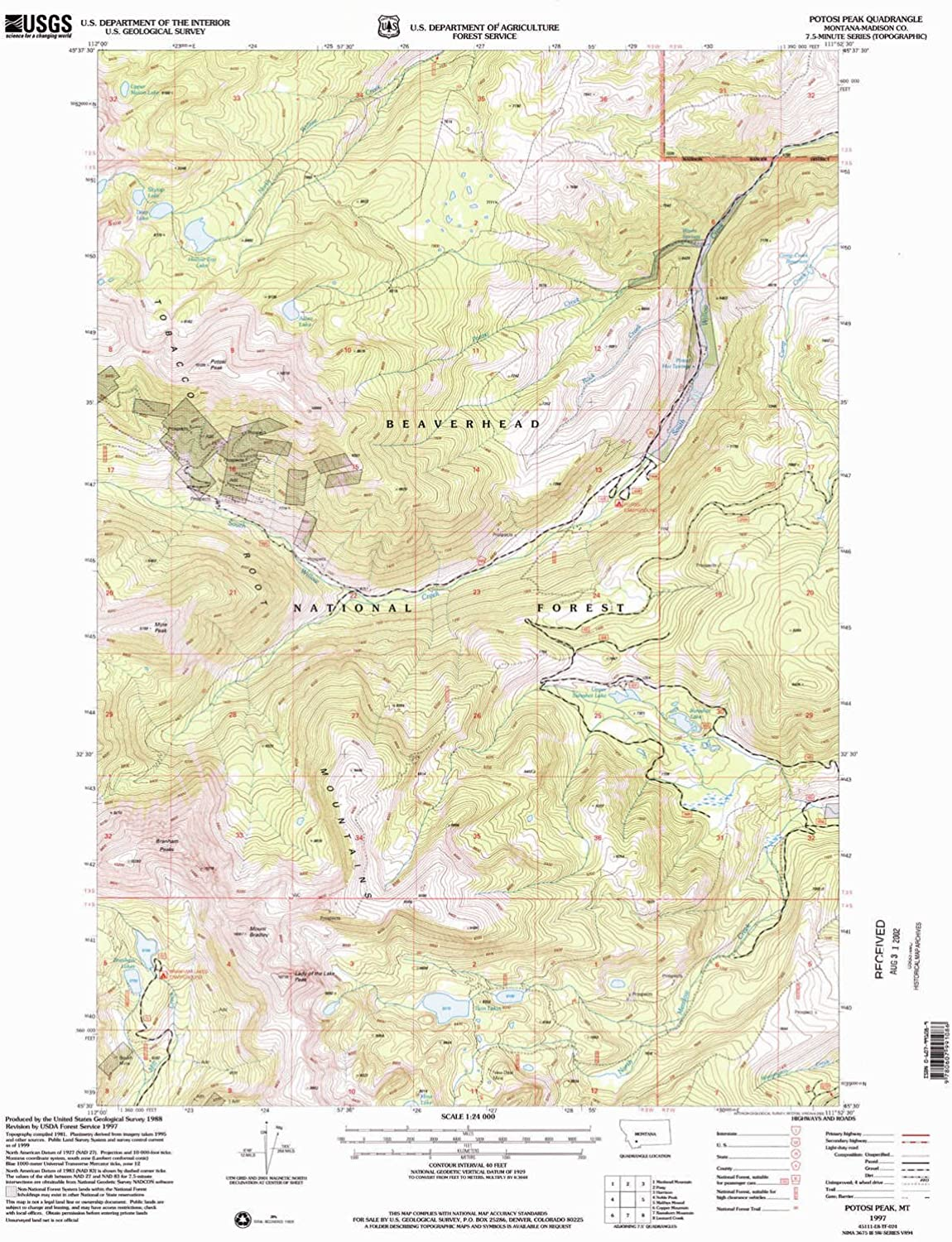Potosi Peak MT topo map, 1 24000 Scale, 7.5 X 7.5 Minute, Historical, 1997, Updated 2002, 26.9 x 22 in