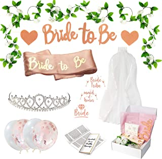Antheia Collection Rose Gold Bachelorette Party Decorations Kit | Bridal Shower Decoration | Bride to Be Sash & Glitter Banner, Veil,Tiara, White Pearl & Confetti Balloons, Bride Tribe Flash Tattoos