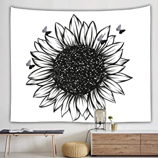 Black Sunflower tapestry Wall Art Decals Decor Wall Hanging Black and White Tapestry with 3D Butterflies for Bedroom Livin...