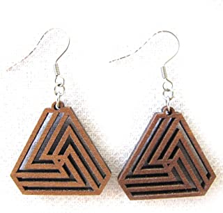 Small Triangle Infinity Earrings, Laser Cut Wood Jewelry, Sacred Geometry, Gift for Her