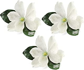 AuldHome Magnolia Floral Picks (3-Pack, White); Artificial Magnolia Greenery Flowers for Christmas and Seasonal Decor