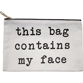 This Bag Contains My Face Gold Glitter Lettering Black Canvas Makeup Bag