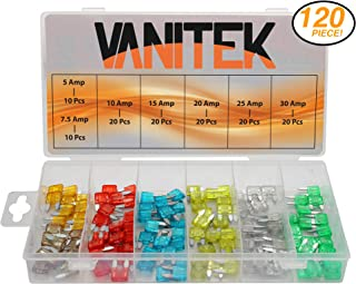 Vanitek 120-Pc Car Truck Boat Fuse Assortment Kit - 5, 7.5, 10, 15, 20, 25, 30 AMP - Blade Fuses (Mini)