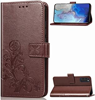 For Galaxy S11E Four-leaf Clasp Embossed Buckle Mobile Phone Protection Leather Case with Lanyard & Card Slot & Wallet & Bracket Function New (Magenta) Lyaoo (Color : Brown)