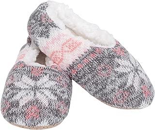Nordic Snow - Pantuflas suaves de interior con forro de felpa para mujer