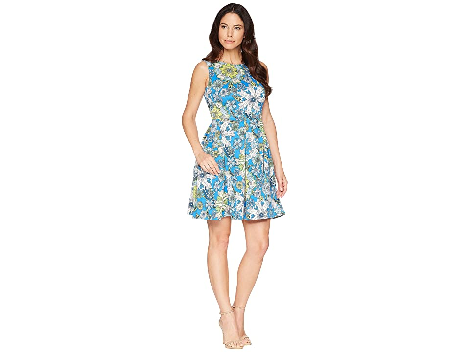 Taylor Floral Printed Fit and Flare Dress (Blue Multi) Women