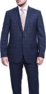 Napoli Classic Fit Navy Blue Plaid Half Canvassed Super 120s Guabello Wool Suit