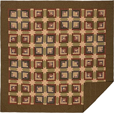 VHC Brands Rustic Tea Cabin Cotton Pre-Washed Patchwork Square Queen Bedding Accessory, Quilt 94x94, Green