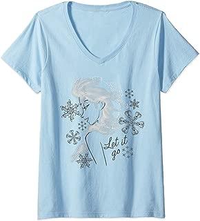 Womens Disney Frozen Elsa Let It Go Profile Sketch V-Neck T-Shirt