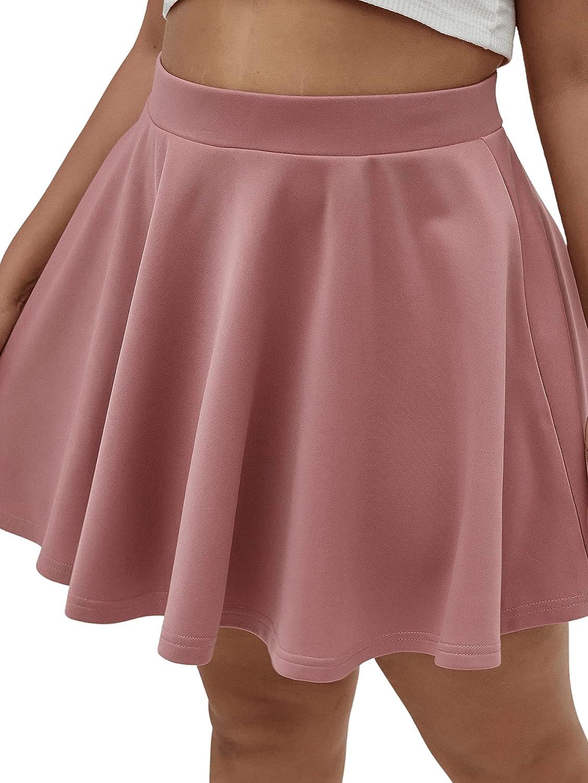 Verdusa Women's Plus High Waist Solid A Line Swing Flared Skater Skirt