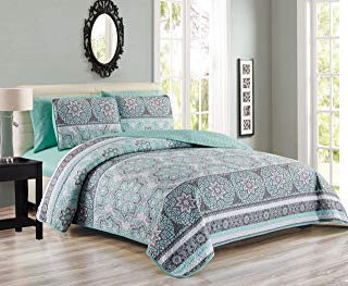 6 Piece Medallion Floral Patchwork Reversible Bedspread/Quilt with Sheet Set Cal King