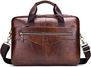 Mens Genuine Leather Briefcase,15 Inch Professional Business Messenger Mag Travel Shoulder Bags Laptop Case for Men
