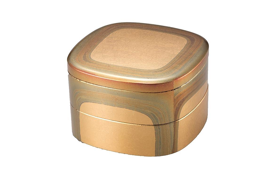スポンジハードリング美的箔一 重箱 ゴールド 145×145×100mm 古代箔 くつわ二段重 A131-08005