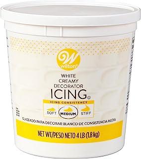 Wilton Creamy White Decorator Icing,Medium Consistency,4 lb. Tub, Cake Decorating Supplies