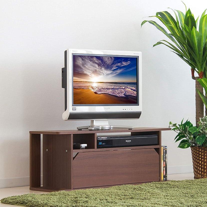 質素なよろしくラリーテレビ台 幅80cm 32型 木製 薄型 テレビ台 モダン おしゃれ 小型 扉付き (ブラウン) wifi ラック wifi収納