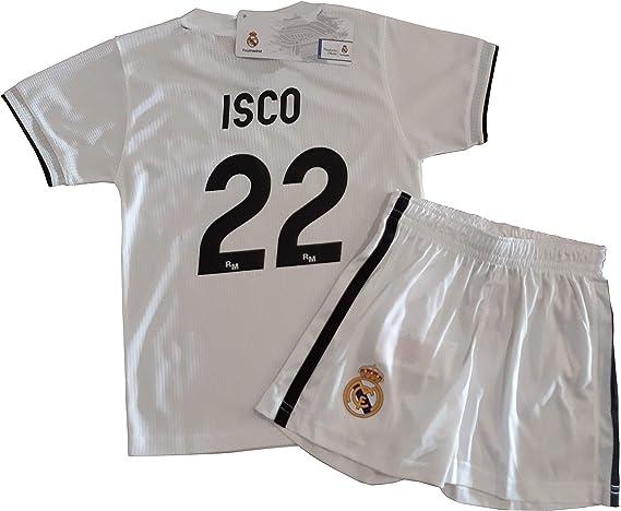 Conjunto Camiseta y Pantalon 1ª Equipación 2018-2019 Real Madrid - Réplica Oficial Licenciado - Dorsal 22 ISCO: Amazon.es: Deportes y aire libre