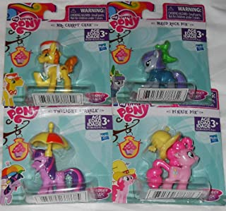 My Little Pony Friendship is Magic Figures Party Favors - 4 Figures - Mr. Carrot Cake, Pinkie Pie, Twilight Sparkle & Maud Rock Pie
