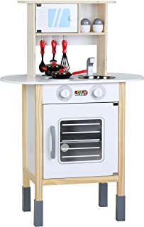Spielwerk Cuisine pour Enfants Bois 57x29,5x77/83cm dinette cuisinière réglable Hauteur 35 Accessoires Jeu éducatif Enfant...