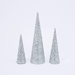GER Set of 3 Sparkling Silver Bead,Sequin and Glitter Christmas Cone Trees- 12, 16 and 23 Inches High