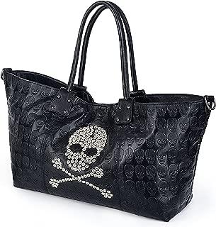 UTO Women Skull Long Tote Bag Top Handles Handbag PU Leather Purse 2 Pcs Shoulder Bags Strap