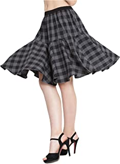9c4802be09 Hive91 Grey Checkered Short Skirts for Women, Fabric,Cotton Elastic Clouser