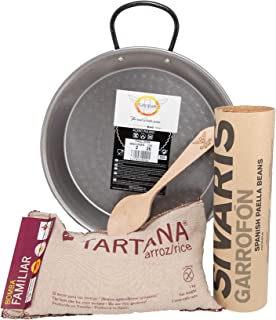 Castevia Traditional Paella Kit with Paella Pan Polished Steel 10Inch / 26cm / 2 servings + Authentic Valencian Tartana Bomba Rice 1Kg. + Garrofon Paella Beans 400 gr. + Castevia Wooden Spoon