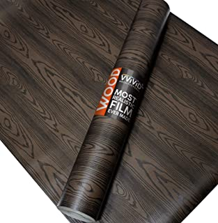 VViViD Chocolate Brown Ash Wood Natural Texture Architectural Vinyl Sheet Film Roll (48 Inch x 6.5ft Large Roll)