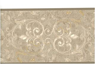 Gray Beige Antique Scroll Wallpaper Border