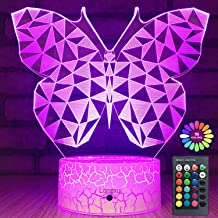 Longxu Butterfly Gifts Night Lights for Kids with Remote & Smart Touch 7 Colors + 16 Colors Changing Dimmable Butterfly Toys 1 2 3 4 5 6 7 8 Year Old Girl Gifts (3D Butterfly)