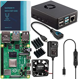 Vilros Raspberry Pi 4 Basic Starter Kit with Fan-Cooled Heavy-Duty Aluminum Alloy Case (2GB, Black)