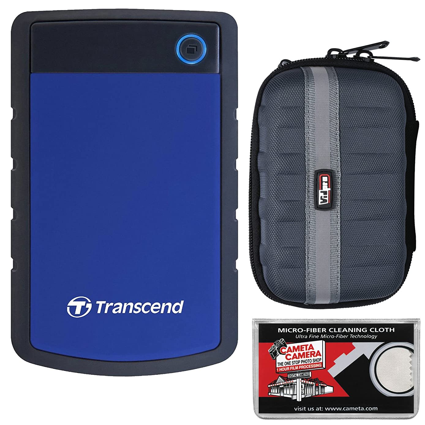 Transcend 2TB USB 3.1 StoreJet 25H3 Portable Hard Drive (Navy Blue) with Case + Cleaning Cloth