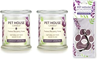 One Fur All 100% Natural Soy Wax Candle, 20 Fragrances - Pet Odor Eliminator, Up to 60 Hours Burn Time, Non-Toxic, Reusable Glass Jar Scented Candles - Pet House Candle, Lavender Green Tea