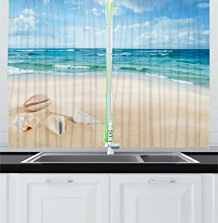 Ambesonne Ocean Decor Kitchen Curtains, Beach Sand Waves Sealife Marine Decor with Shels Hot Summer Sun Print, Window Drapes 2 Panels Set for Kitchen Cafe, 55W X 39L Inches, Teal Blue Cream