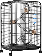 VIVOHOME 37 Inch Metal Indoor Outdoor Small Animal Cage Hutch with Water Bottle Ladders and Rolling Stand for Hamster Guinea Pig Pet Rat Cat Ferret Chinchilla