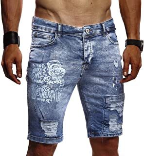 Leif Nelson men's summer short jeans shorts biker jogger shorts jeans basic chinos cargo trousers 5-pocket destroyed used stretch leisure trousers Bermuda slim fit LN1970