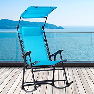 Light Blue Relaxing Shake Lounge Black Iron Body Weather-resistant Cloth With Pillow Umbrella Shade Pool Terrace Outside Rocker Sturdy Comfortable Living Folding Portable Zero Gravity Rocking Chair