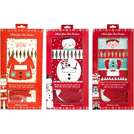 6 x  Make Your Own Christmas Crackers Elf Kit DIY Set Craft Snaps Hats Tags