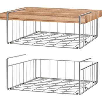 2 Pack Wire Rack Hanging Storage Baskets for Kitchen Pantry Simple Trending Under Cabinet Organizer Shelf Silver