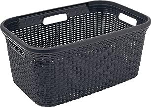 CURVER | Panier à linge 45L - Aspect rotin, Anthracite, Laundry Hampers & Baskets, 59,2x38x27 cm